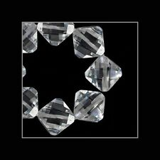 10 Lab CZ Rhombus Square Beads 7mm White Clear #64799