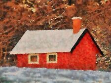 LANDSCAPE RED COTTAGE FOREST CHIMNEY POSTER ART PRINT PICTURE BB71A