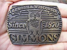 Vtg SIMMONS MATTRESS Belt Buckle 1870 Kenosha WI Beautyrest OWL Brass RARE VG++