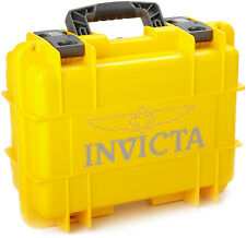 NEW INVICTA YELLOW 3 SLOT WATCH CASE COLLECTOR IMPACT STORAGE BOX