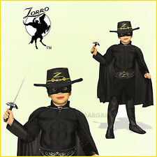 Zorro Boys Costume Muscle Chest Child 5-7yrs Hat Mask Cape Belt Suit Boot Cover