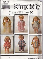 Simplicity Pattern Clothes for 13 to 15 Inch Doll Jiffy Six Pack Uncut 7207