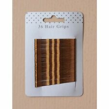 Card of 36 Metallic Brown 55mm Hair Kirby Clips Bobby Grips Pins Ladies or Girls