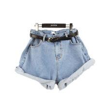Vintage Fashion Womens High Waisted Oversize Crimping Denim Jeans Shorts Pants