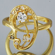 Fashion Womens Crystal Ring Yellow Gold Filled Size 8 Free Shipping