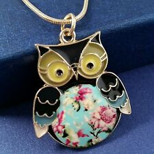 Gold Plated Vintage Flower Owl Pendant Necklace *UK*