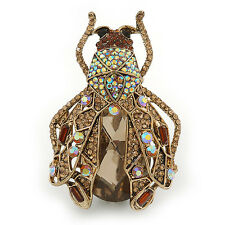 Large Crystal Bug Brooch/ Pendant In Gold Tone (Citrine, Brown, Amber) - 60mm L