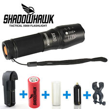 Genuine SHADOWHAWK X800 Tactical Flashlight LED Zoom Military Torch G700 Battery