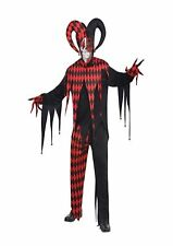 Krazed Jester Clown Halloween Fancy Dress Costume Size M-L P9783