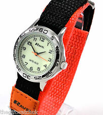 Ravel Boys Girls Luminescent Face Watch Orange Fast Fit Strap with NITE-GLO TEXT