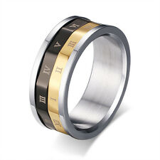 Roman Numeral Dual Spinner Ring Mens 316L Stainless Steel Black&Gold Band Sz7-11