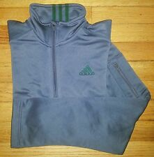 c330 S Solid Gray Green Trim ADIDAS L/S Half-zip Pullover Jacket!
