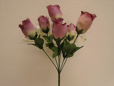 "3 Bushes MAUVE Rose Buds 6 Artificial Silk Flowers 13"" Bouquet 599MV"