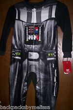 Star Wars Darth Vader COSTUME Pajamas Boy's 8 NeW Zip-Up Footed Fleece Pjs NWT