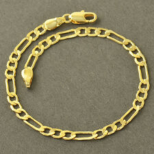 Classic 14K Solid Gold Filled  Figaro Curb Chain 3-Link Womens Bracelet Z4250
