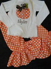 Girls fall pumpkin outfit ruffle pants applique tshirt custom monogrammed