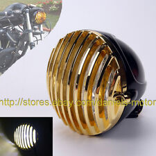 "5 3/8"" SCALLOPED BRASS HEADLIGHT MOTORCYCLE FINNED GRILL LED SPORTSTER XS650 XL"