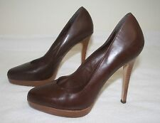 Women's ALDO Brown Leather High Heel Platform Pump Classic Shoes Size 40 US 9