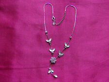 Silver Tone Necklace with flower/leaf design, diamante and opaque white, UK