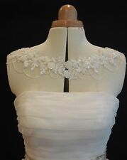 Bridal Wedding couture Lace ivory beaded shoulder necklace bridal beaded Bolero