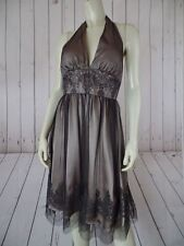 Adrianna Papell Boutique Dress 4P Tan Poly Lining Sheer Black Net Overlay Halter