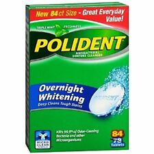 Polident Overnight Whitening, Antibacterial Denture Cleanser Triple Mint 84 ea