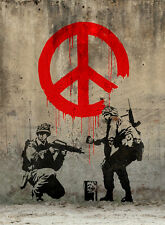 BANKSY STREET ART *FRAMED* CANVAS PRINT Soldiers painting peace 20x16""