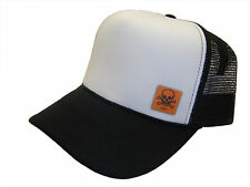 Orange Toxic Skull Side Logo Black & White Mesh Trucker Cap Caps Hat Hats