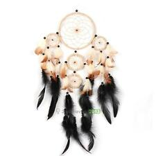 Brown Five Rings Dream Catcher With Feathers Wall Hanging Decor Ornament Gift