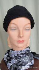 "Chic Vintage 40's 50's Vintage Black Soft Cloth Crushable Turban Hat 22.5"""