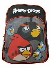 """2016 New Angry Birds Black/Red """"Birds Attack"""" 16"""" Kids Boys Girls Large Backpack"""
