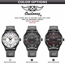 Men's Leather Waterproof Military Watch Fashion - BLACK / WHITE background
