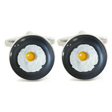 Fried Egg in Pan Design Cufflinks Cuff Links sunny side up frying breakfast BNIB