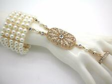 Pearl Crystal Bangle Ring & Cuff Women Slave Bracelets Gold Tone Plated NEW