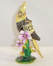 KINGSPOINT TROPICANA COCKATIEL  PEWTER  BEJEWELED HINGED TRINKET / JEWELRY BOX