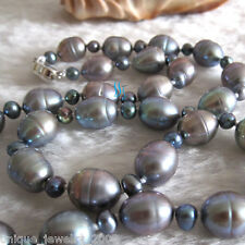 "20"" 4-9mm Dark Gray Off Round Rice Freshwater Pearl Necklace"