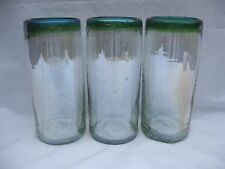 "Hand Blown Mexican Glass Tumblers Green Turquoise Rim  7"" Height Set of 3"