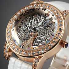 Fashion Bling Crystal Rose Gold White Leather Peacock Women's Quartz Wrist Watch