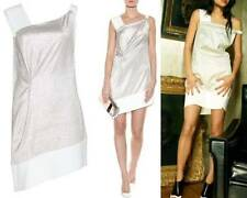 ROLAND MOURET Anser Silver & White Sheath Dress 2 XS $1764   French 36