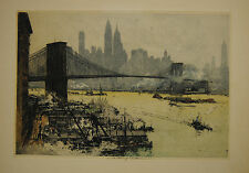 New York – Brooklin Bridge – Farbradierung von Luigi Kasimir – Um 1930