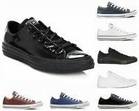 CONVERSE All STAR OX LEATHER BLACK MONO WHITE BLUE ADMIRAL TRAINERS SIZE UK 3-12