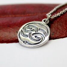 Silver AURYN Pendant Necklace Medallion  Neverending Story Incised AURYN Jewelry