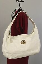 COACH XL Ergo Hobo Purse / Shoulder Bag White Patent Leather 11009 Authentic!