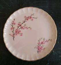 W.S. George Peach Blossom Bolero Luncheon Plate Scalloped Gold Edge Pink Flowers
