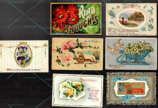7 POSTCARD Antique Vintage 1911-1917 w 1c stamps Best Wishes Happy Thoughts Kind