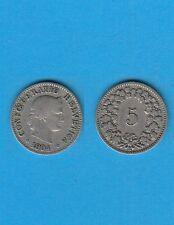 Suisse Helvétia Switzerland 5 Rappen Cuivre-Nickel 1904