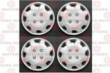 "Fits On 13"" Silver Lacquer Wheel Hub Covers Caps Set Of 4 Rim High Quality New"