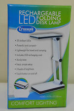 WHITE Triumph Rechargeable Folding Desk Lamp Table, Craft, Sewing, Hobby LED USB