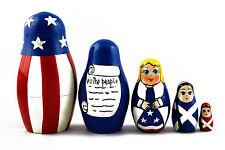 Matryoshka Russian Nesting Doll Babushka US Symbols American Patriotic 5 Pc