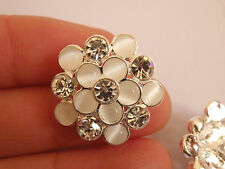 2 large crystal buttons rhinestone pearl diamante embellishment silver flower UK
